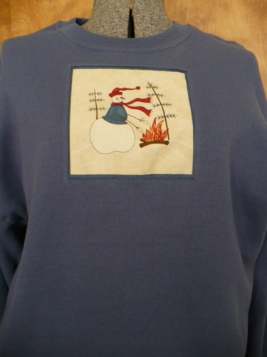 Snowman themed pullover sweatshirts